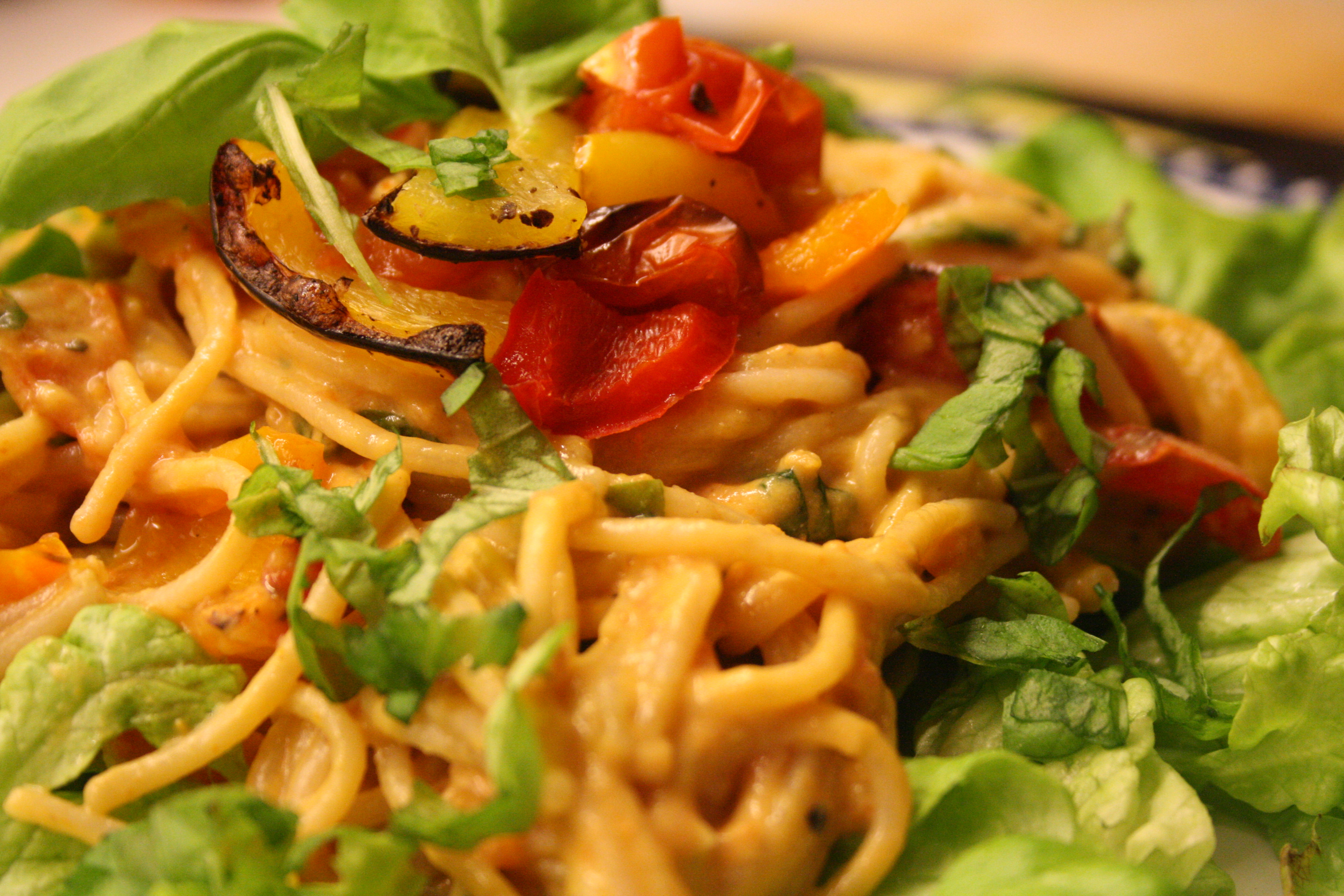 Creamy Tomato Basil Pasta with Roasted Tomatoes and Bell Peppers | Two ...